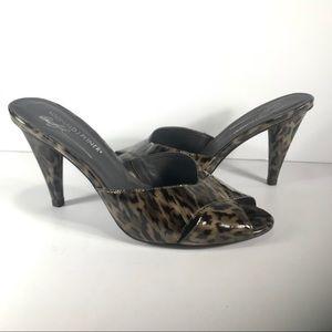 Donald J Pliner Leopard Crisscross Slip On Heels 9